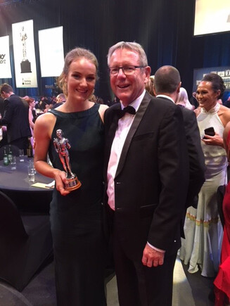 Ellesse Andrews and Perago co-founder Kevin Burgess at the 2018 Halberg Awards